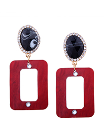 Fashion Red Diamond Decorated Earrings
