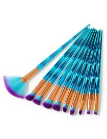 Fashion Sapphire Blue Sector Shape Decorated Makeup Brush (10 Pcs)