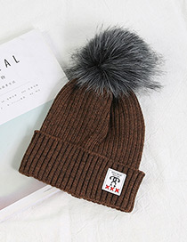 Fashion Brown Ball Decorated Pom Adult Hat