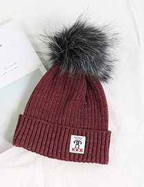 Fashion Claret Red Ball Decorated Pom Adult Hat