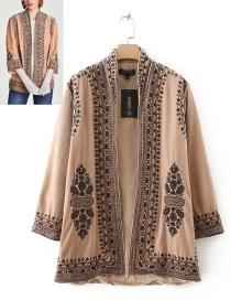 Fashion Khaki Flower Pattern Decorated Coat