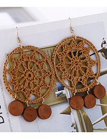 Fashion Brown Circular Ring Shape Decorated Earrings