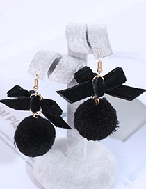 Fashion Black Bowknot Shape Decorated Pom Earrings