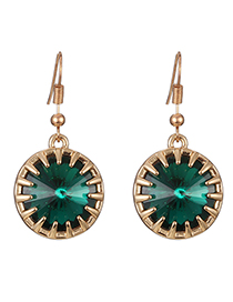 Fashion Green Round Shape Design Simple Earrings