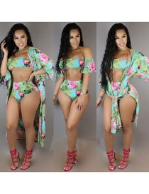 Fashion Green Flower Pattern Decorated Swimsuit(with Smock)