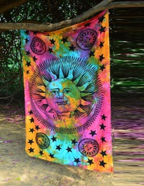Fashion Multi-color Sun&star Pattern Decorated Beach Blanket