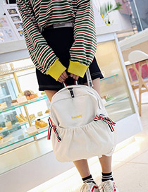 Fashion White Bowknot Decorated Simple Backpack