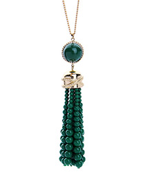 Personality Green Beads Decorated Tassel Design Necklace