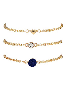 Elegant Dark Blue Heart Shape&diamond Decorated Bracelet(3pcs)