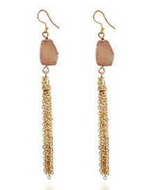 Fashion Beige Chains Decorated Long Tassel Earrings