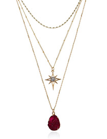 Elegant Dark Red Geometric Shape Decorated Multi-layer Necklace