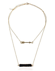 Fashion Black Arrow Decorated Double Layer Necklace