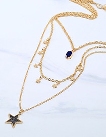 Fashion Dark Blue Five-pointed Star Decorated Multi-layer Necklace