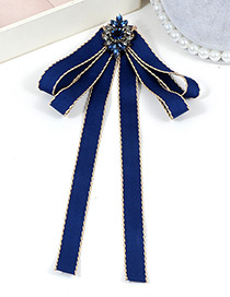 Trendy Navy Flower Decorated Bowknot Design Brooch