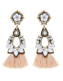 Fashion White Flower Decorated Tassel Earrings