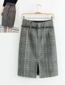Trendy Gray Grid Pattern Decorated Skirt