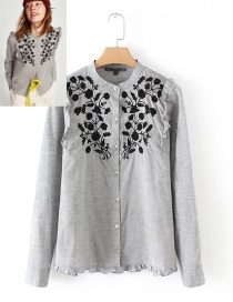 Trendy Gray Flower Pattern Decorated Long Sleeves Blouse