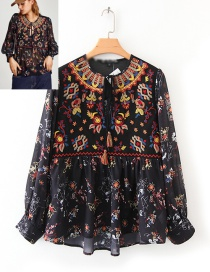 Trendy Multi-color Flower Pattern Decorated Long Sleeves Blouse