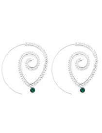 Fashion Silver Color Diamond Decorated Spiral Shape Earrings