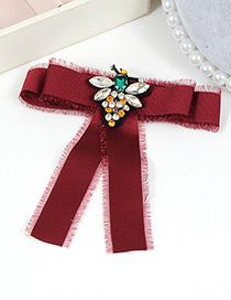 Trendy Claret Red Bee Decorated Bowknot Design Brooch