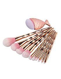 Fashion Rose Gold Mermaid Shape Decorated Makeup Brush(10pcs)