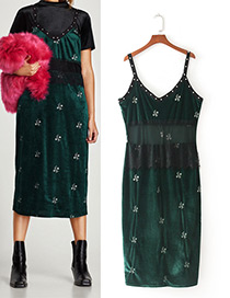 Fashion Dark Green Flower Pattern Decorated Suspender Dress