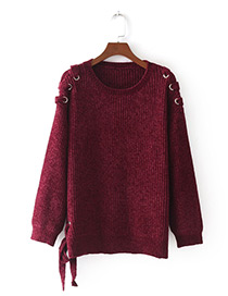 Fashion Claret Red Pure Color Decorated Bandage Design Sweater