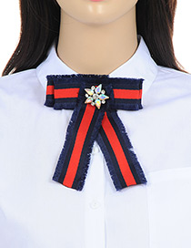 Fashion Red+navy Flower Decorated Bowknot Shape Brooch