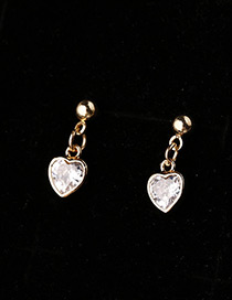 Elegant Gold Color Heart Shape Decorated Earrings