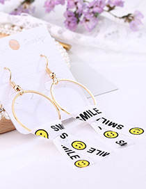 Fashion White Smile Face Decorated Earrings