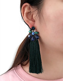 Bohemia Dark Green Waterdrop Shape Diamond Decorated Tassel Earrings