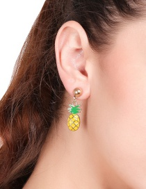 Lovely Yellow+green Pineapple Shape Decorated Earrings