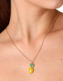 Lovely Yellow+green Pineapple Shape Decorated Necklace