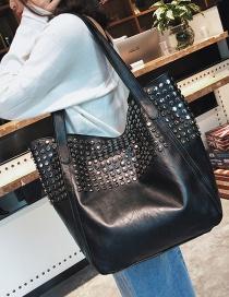 Fashion Black Metal Rivet Decorated Bag