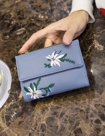 Vintage Blue Embroidery Flowers Decorated Wallet