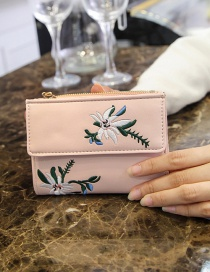 Vintage Pink Embroidery Flowers Decorated Wallet