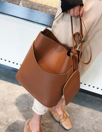 Fashion Brown Pure Color Decorated Bucket Bag