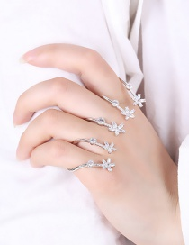Fashion Silver Color Flower Shape Decorated Ring