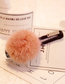 Lovely Pink Fuzzy Ball Decorated Hairpin