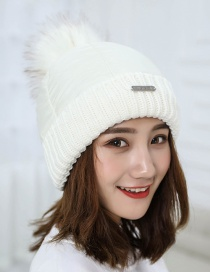Trendy White Fuzzy Ball Decorated Pure Color Cap