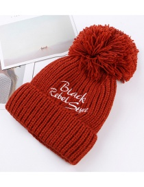 Trendy Dark Red Pure Color Decorated Thicken Cap