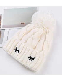Trendy White Embroidery Eyelashes Decorated Thicken Cap