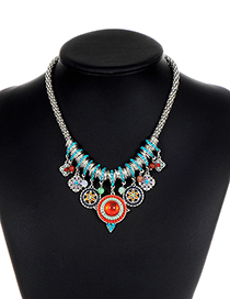 Bohemia Silver Color Round Shape Decorated Necklace