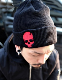 Personality Red Skull Shape Decorated Cap