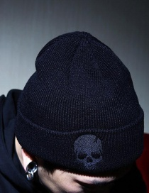 Personality Black Skull Shape Decorated Cap