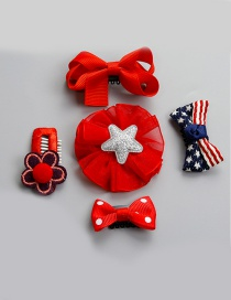 Lovely Red Flower Shape Decorated Hairpin (5pcs)