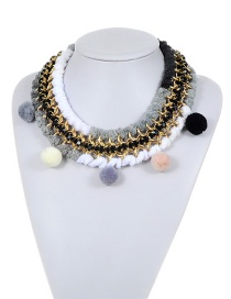 Bohemia White+black Fuzzy Ball Decorated Pom Necklace