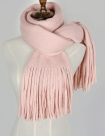 Fashion Pink Pure Color Decorated Scarf