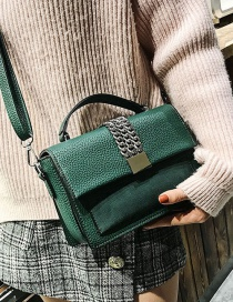 Fashion Green Metal Chain Decorated Bag