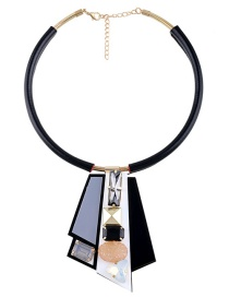 Fashion Black Irregular Shape Decorated Necklace